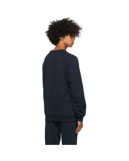 メンズ Dries Van Noten ネイビー ラグラン スウェットシャツ Blue