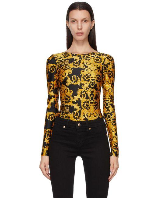 Versace Jeans ブラック Baroque ロング スリーブ ボディスーツ Black