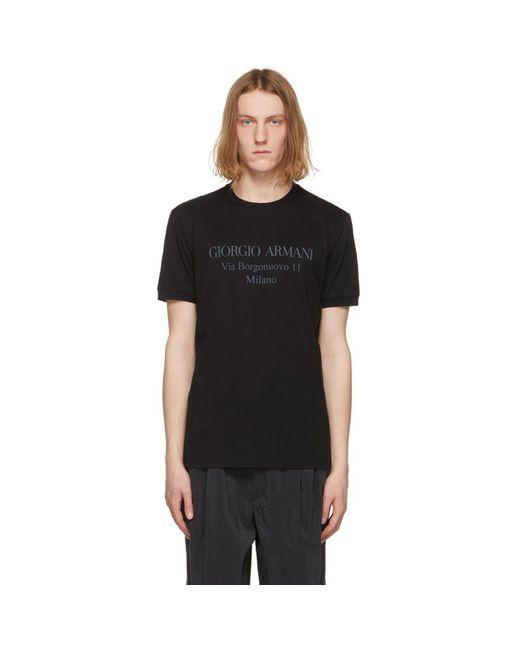 メンズ Giorgio Armani ブラック Borgonuovo T シャツ Black