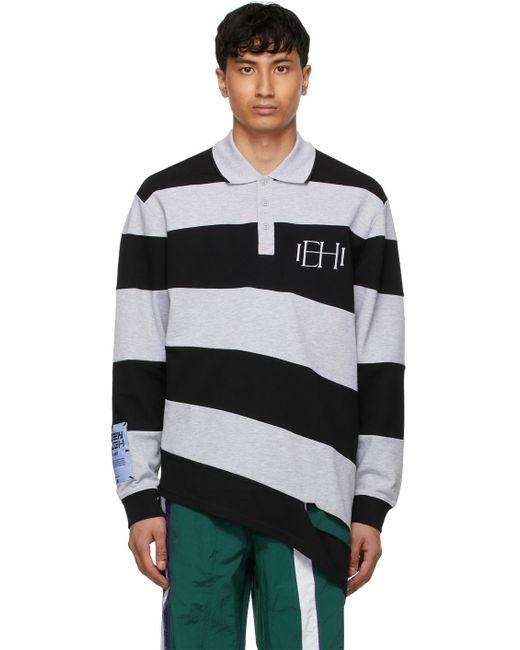 メンズ McQ Alexander McQueen ブラック & グレー ポロシャツ Black
