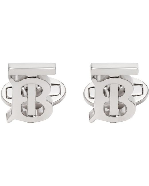 メンズ Burberry シルバー モノグラム カフリンク Metallic