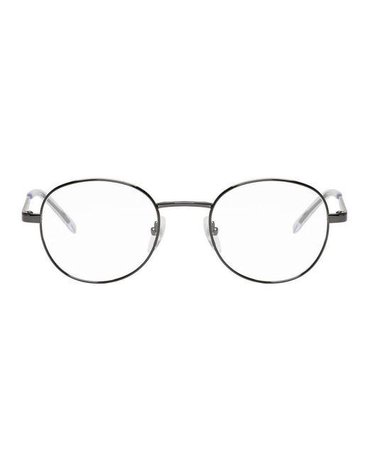 メンズ Balenciaga ガンメタル ラウンド メタル グラス Gray