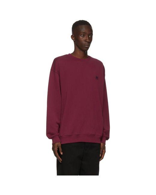 メンズ Acne バーガンディ オーバーサイズ スウェットシャツ Red