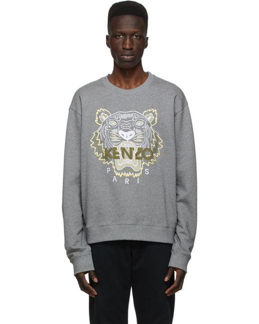 メンズ KENZO グレー クラシック Tiger スウェットシャツ Gray