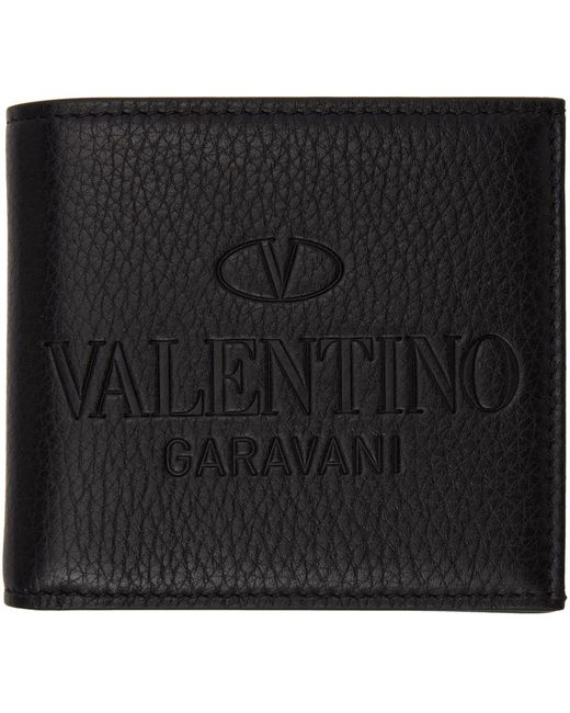 メンズ Valentino Garavani ブラック ロゴ バイフォールド ウォレット Black