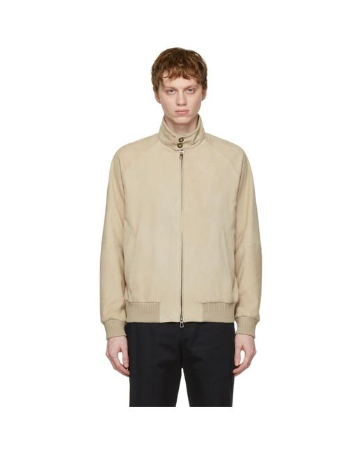 Loro Piana Natural Beige Suede Bomber Jacket for men
