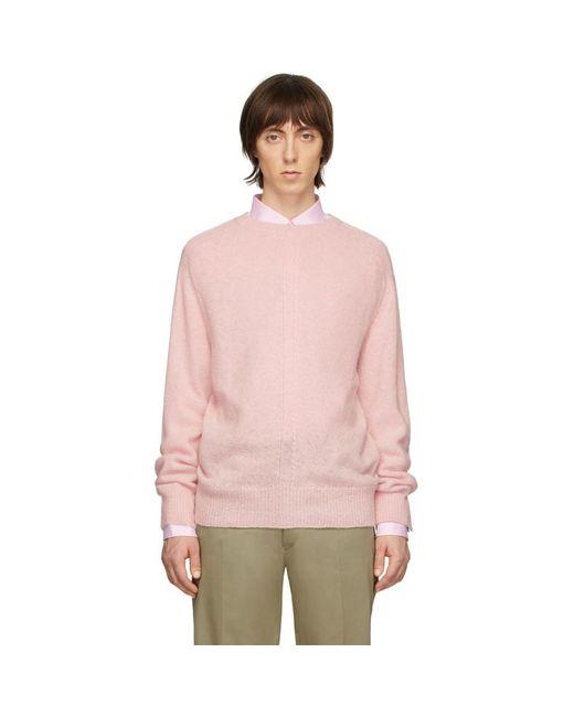 メンズ Thom Browne ピンク ジャージ ステッチ センターバック ストライプ セーター Pink