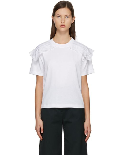 See By Chloé ホワイト Embellished T シャツ White