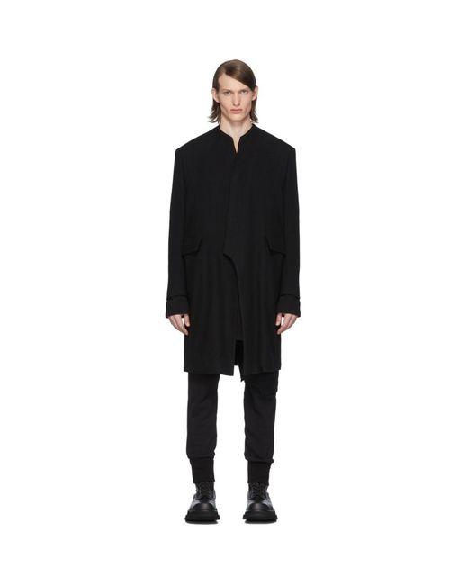 メンズ Julius ブラック カラーレス テーラード コート Black