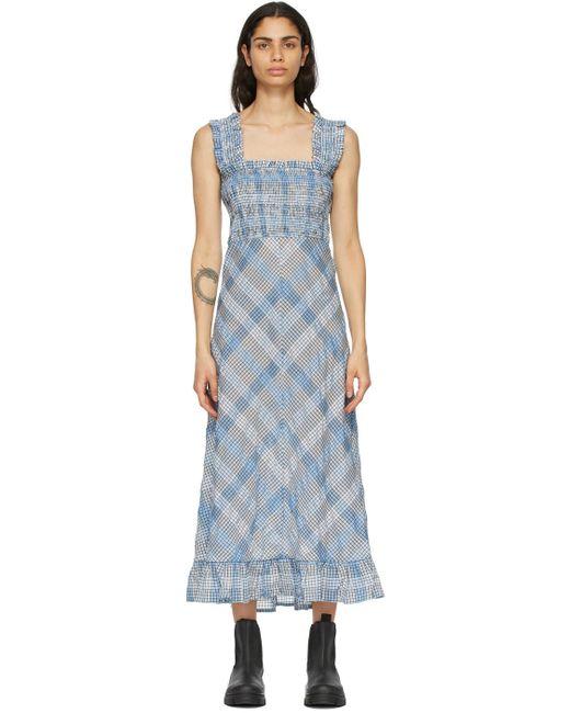 Ganni ブルー Seersucker チェック ロング ドレス Blue