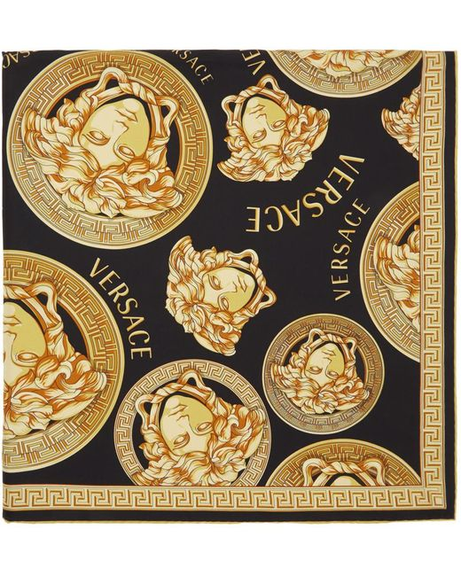 メンズ Versace ブラック & ゴールド Medusa Amplified スカーフ Multicolor