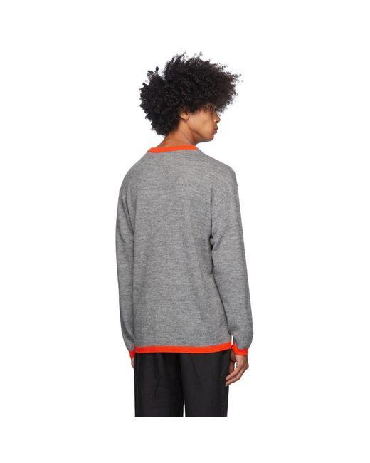 メンズ Loewe グレー And レッド ウール Anagram セーター Gray