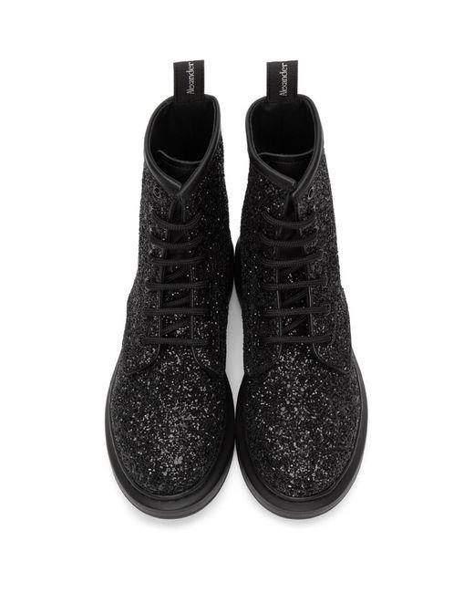 Alexander McQueen ブラック グリッター コンバット ブーツ Black