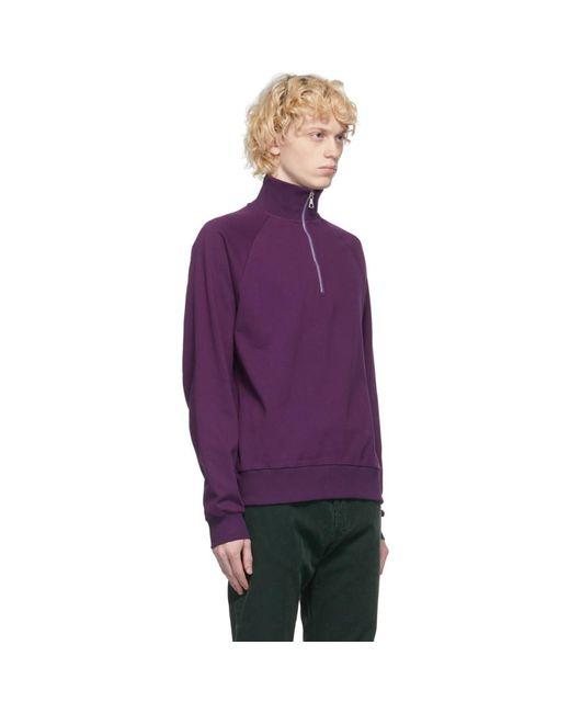 メンズ Dries Van Noten パープル ハーフジップ セーター Purple