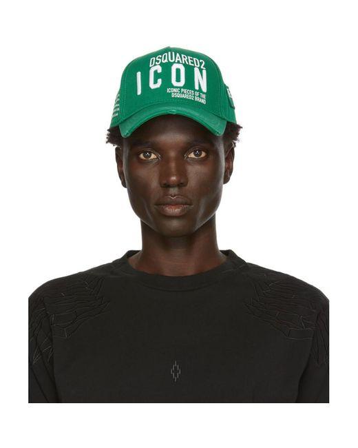 メンズ DSquared² グリーン ギャバジン キャップ Green
