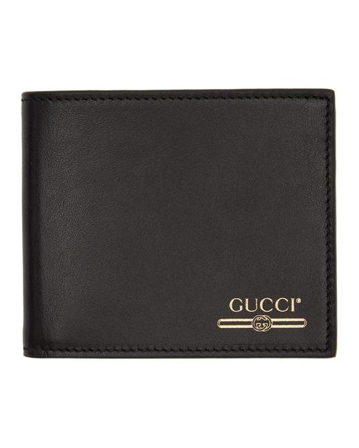 メンズ Gucci ブラック ロゴ バイフォールド ウォレット Black