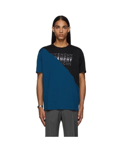 メンズ Givenchy ブラック And ブルー ダイアゴナル カラーブロック T シャツ Blue