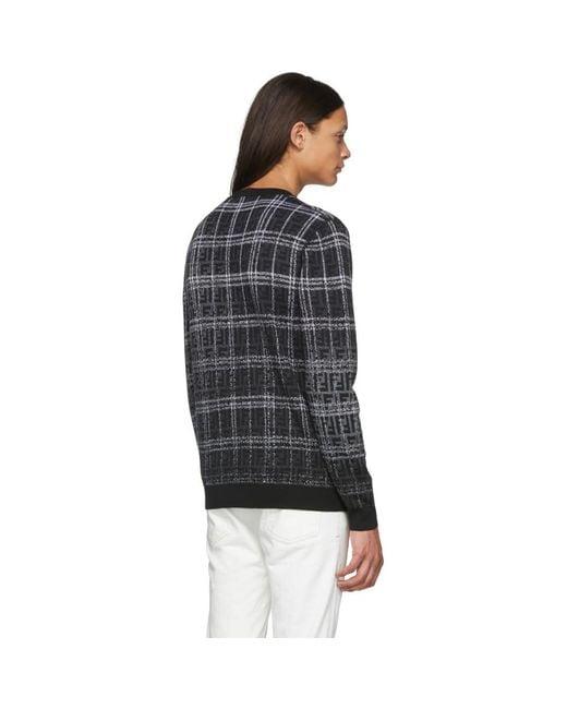 メンズ Fendi ブラック And グレー ウール Forever セーター Black