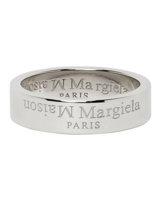 メンズ Maison Margiela シルバー ロゴ リング Metallic