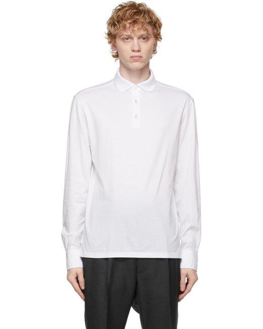 メンズ Ermenegildo Zegna ホワイト ロング スリーブ ポロシャツ White