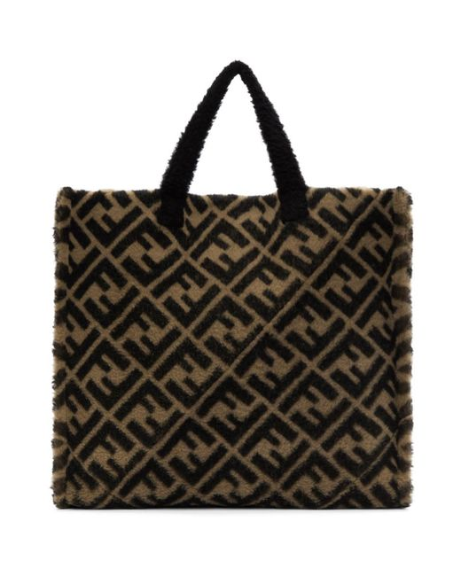 33abc7b69ed Fendi - Natural Beige And Brown Shearling Forever Tote for Men - Lyst ...