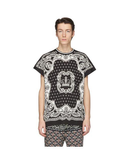 メンズ Dolce & Gabbana ブラック And オフホワイト バンダナ T シャツ Black