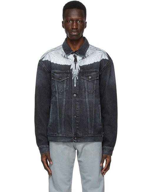 メンズ Marcelo Burlon ブラック & ホワイト デニム ジャケット Black
