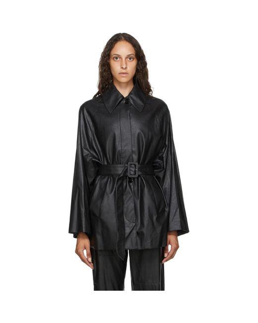 MM6 by Maison Martin Margiela ブラック フェイクレザー シャツ ジャケット Black