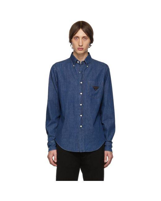 メンズ Prada ブルー ウォッシュ デニム シャツ Blue