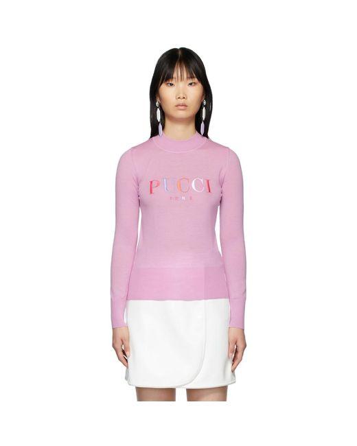 Emilio Pucci ピンク エンブロイダリー ロゴ セーター Pink