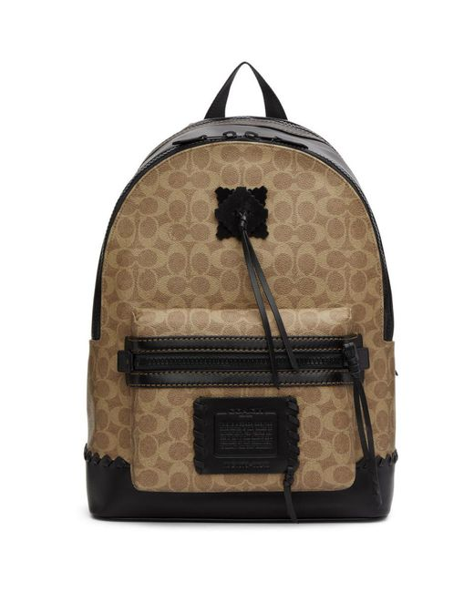 434904e0d0 ... sale coach black academy backpack in signature canvas with whipstitch  for men lyst ce4a5 7099f