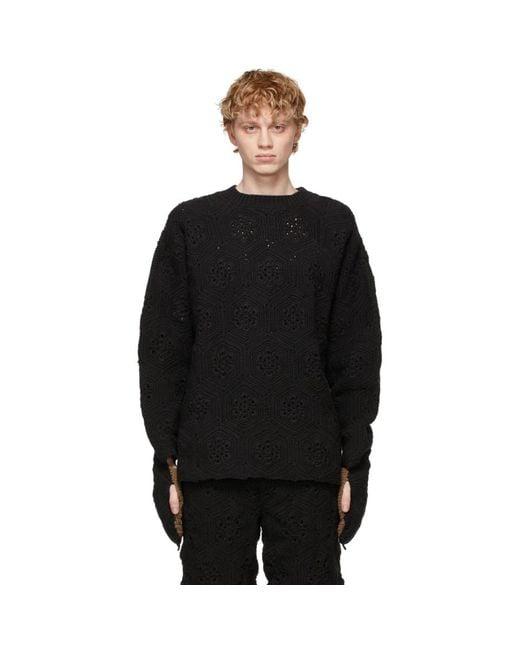 メンズ Doublet ブラック Hand-crochet Bear セーター Black