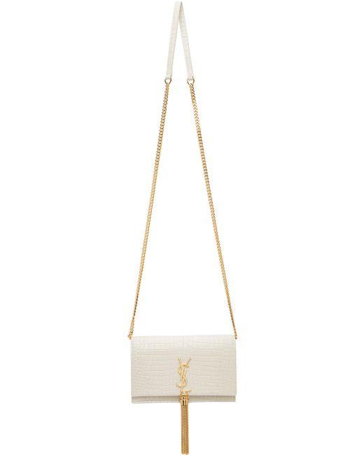 Saint Laurent オフホワイト クロコ Kate タッセル チェーン ウォレット バッグ Multicolor