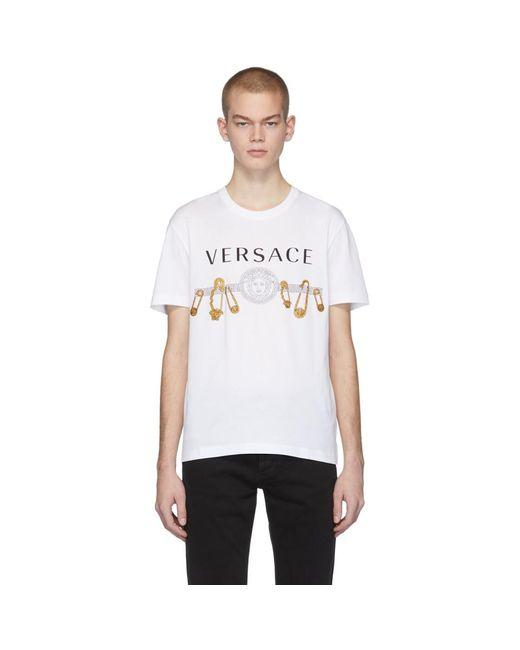 メンズ Versace ホワイト セーフティ ピン T シャツ White