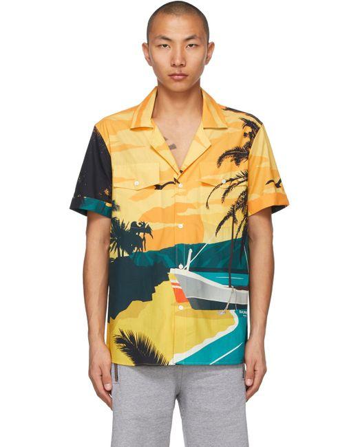 メンズ Balmain マルチカラー Beach ショート スリーブ シャツ Multicolor