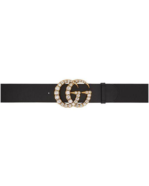 Gucci ブラック ワイド レザー GG クリスタル ベルト Black