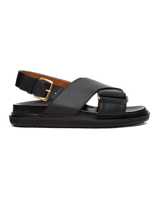 Marni Black Leather Sandals