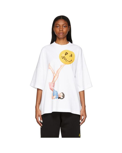 Palm Angels Smiley Edition ホワイト Juggler Pin Up ルース T シャツ White