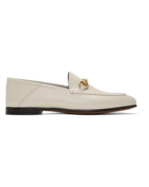 Gucci Brixton Horsebit Detail Loafers White