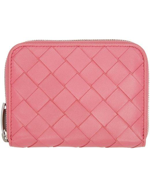 Bottega Veneta ピンク イントレチャート ジップ コイン ケース ウォレット Pink