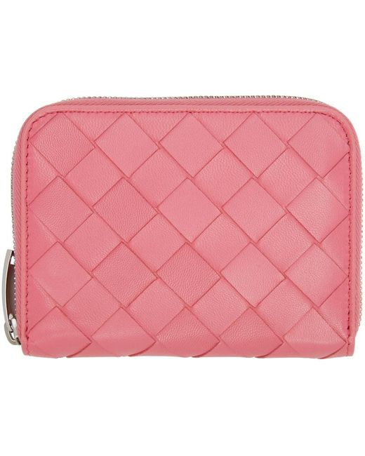 Portefeuille à glissière rose Intrecciato Coin Purse Bottega Veneta en coloris Pink