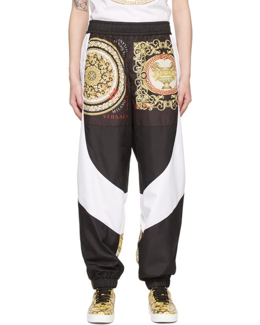 Versace ホワイト & ブラック Barocco Mosaic ラウンジ パンツ Black