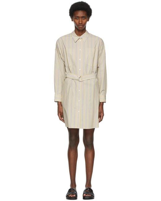 3.1 Phillip Lim タン ストライプ ボタン ダウン シャツ ドレス Natural