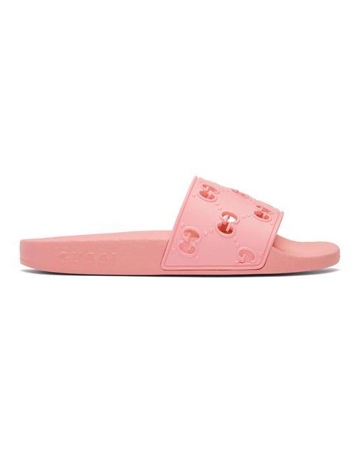 Gucci ピンク GG プール スライド Pink