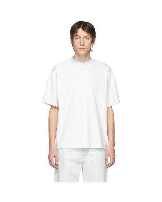 メンズ Acne ホワイト ロゴ ネック T シャツ White