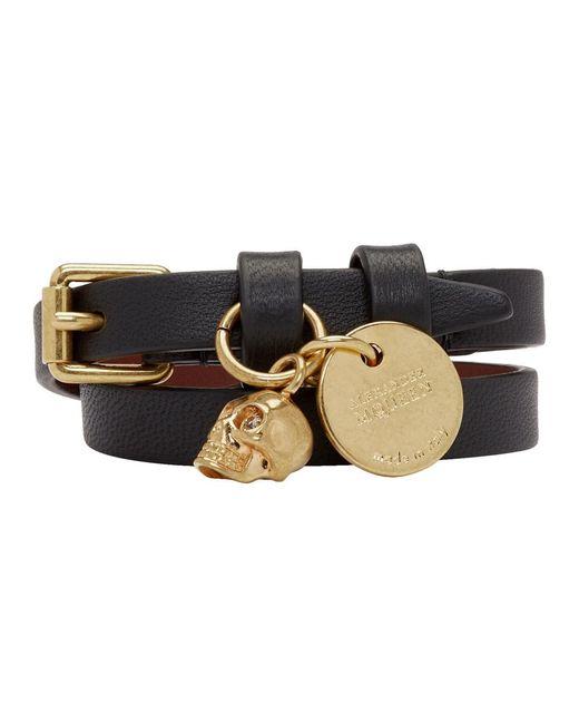 Alexander McQueen - Black And Gold Double Wrap Bracelet - Lyst