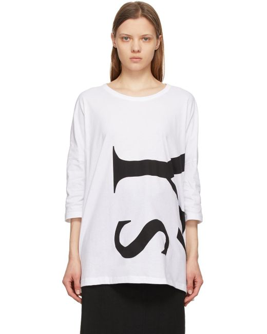 Y's Yohji Yamamoto ホワイト Side Gusset ロゴ T シャツ White