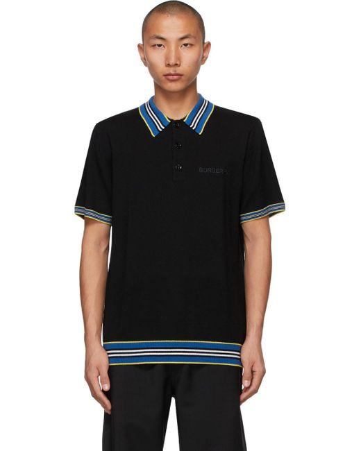 メンズ Burberry ブラック ストライプ Icon ポロシャツ Black