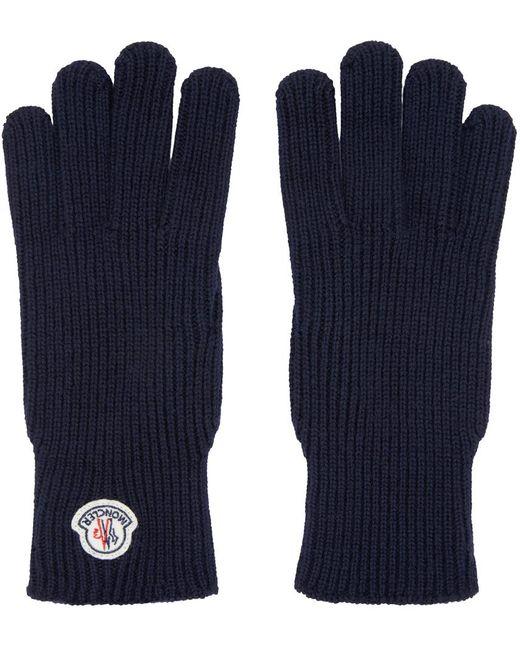 Moncler | Blue Navy Knit Gloves for Men | Lyst