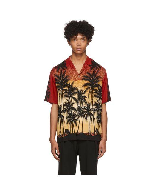 メンズ Wooyoungmi レッド Palm Tree シャツ Red